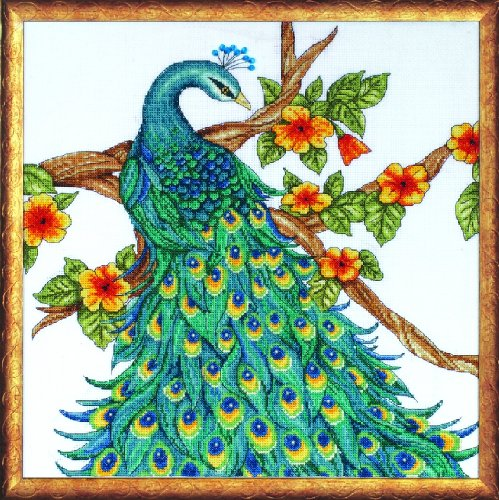 Tobin DW2808 14 Count Counted Cross Stitch Kit, 14 by 14-Inch, Peacock
