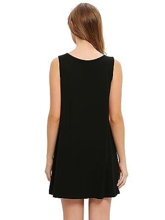 e570129ef1cb spyman Fashion Women s Casual T-Shirt Sleeveless Swing Dress Tunic Tank Top  Dresses at Amazon Women s Clothing store