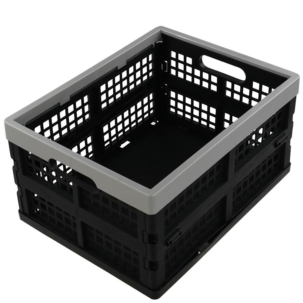 Jekiyo 16-Liter Folding Crates Storage, Collapsible Container Plastic, Set of 3