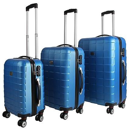 Juego de 3 maletas rígidas con cierre Q-Design color azul - Equipaje De Viaje con ruedas Maleta de plástico ABS flexible ruedas dobles de goma (con ...