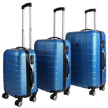 9a148e0ba Juego de 3 maletas rígidas con cierre Q-Design color azul - Equipaje De  Viaje