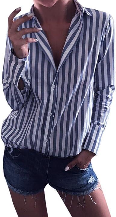 Yebutt - Camisa de Manga Larga para Mujer, diseño de Rayas ...
