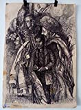 Jewish figures on cartboard black pen Drawing Original gadi dadon