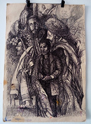 Jewish figures on cartboard black pen Drawing Original gadi dadon by jewish dream