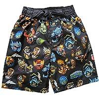 Skylander Big Boys Black Blue Cartoon Print UPF 50+ Swimwear Shorts 10