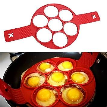 meao silicona frito huevo anillo antiadherente moldes de cocina de pancake con asa: Amazon.es: Hogar