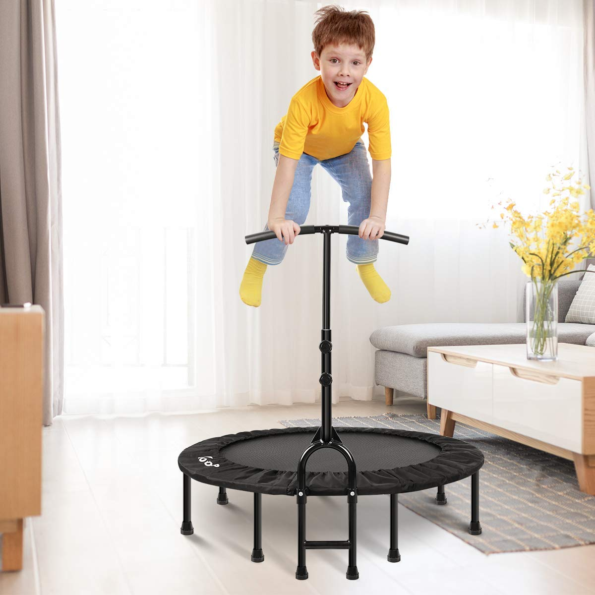 MOVTOTOP 48 40 Inch Indoor Trampoline, Folding Mini Trampoline with Adjustable Handrail and Safety Pad, Exercise Rebounder for Kids Adults-Black (40 Inch-Foldable) by MOVTOTOP (Image #2)