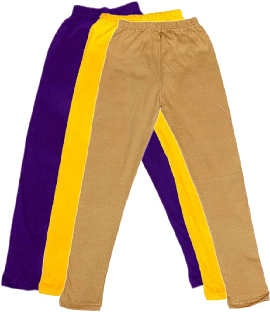 Indistar Girls Super Soft Ankle Length Cotton Lycra Leggings /_Purple::Yellow::Beige Pack of 3