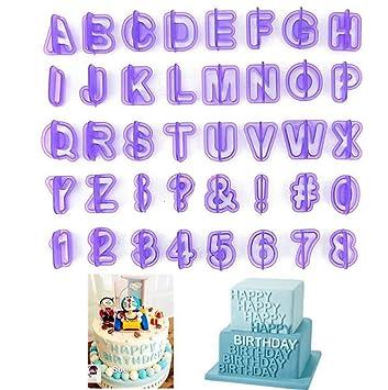 40 Unidades Cortadores de Letras Molde Utensilio Forma de Alfabeto y Número de Fondant Repostería Torta Galletas Pastel para Fiesta Cumpleaños: Amazon.es: ...
