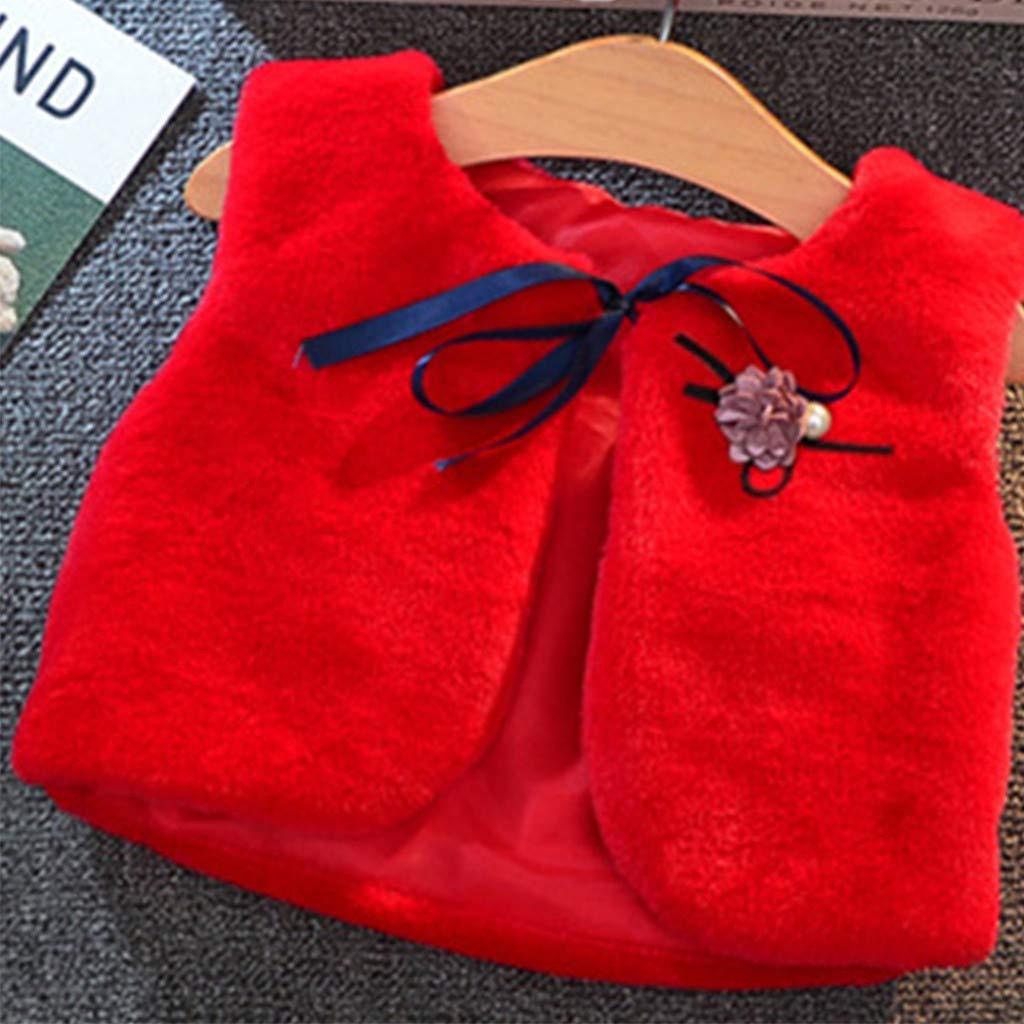 Voberry Gilet Bambino Lana 2-9 Anni Elegante Felpa Veste Cappotto Bambina Invernale Giubbotti Bambini Ragazza Ragazzo Cappotti Caldo Outfits