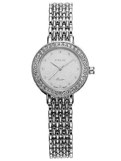 Alienwork Reloj Mujer Relojes Acero Inoxidable Plata Analógicos Cuarzo Blanco Impermeable Strass Ultra-Delgada Slim: Amazon.es: Relojes