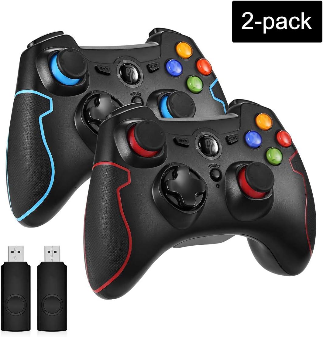 EasySMX 2 Pack Mandos, Mandos Inalámbricos PS3, Mandos para PC, Gamepad Wireless Compatible con Windows XP y Vista, Windows 8, PS3, Android y Operación Rango hasta 10M