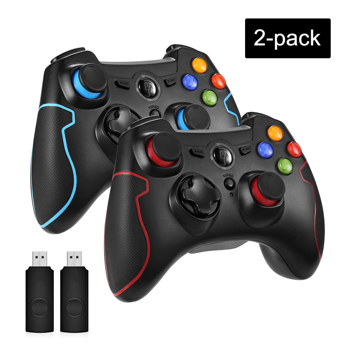 EasySMX 2.4G Wireless Controller for PS3, PC Gamepads with Vibration Fire Button Range up to 10m Support PC,Laptop, Android and TV BOX (black blue and black red)