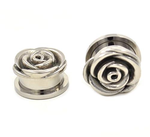 Amazon.com: Par (2) tallada de acero Rose Bud Look Ear Plugs ...