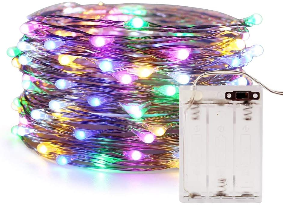 Fairy Lights, ANJAYLIA 10Ft/3M 30leds Multi Color LED String Lights Party Home Festival Valentine's Day Decorations Battery Operated Lights(RGB)