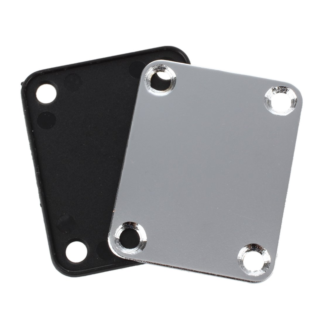 SODIAL(R) Chrome Guitar Neck Plate With One Rubbermat Stratocaster Telecaster
