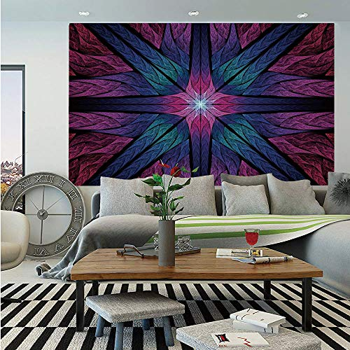 Fractal Wall Mural,Psychedelic Colorful Sacred Symmetrical Stained Glass Figure Vibrant Artsy Design,Self-Adhesive Large Wallpaper for Home Decor 83x120 inches,Plum Indigo ()