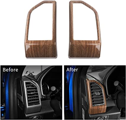 Wood Grain Left /&Right Dashboard Air Vent Outlet Cover Decor For Ford F150 15-19