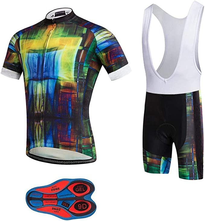 Mens Cycling Jersey Set Short Sleeve MTB Jersey Road Bike Clothing Shirts Shorts with 3D Padded Outdoor Riding Sportswear