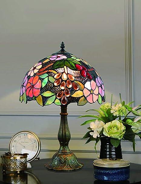 LTXNSB Lámpara de Dormitorio de la lámpara de Mesa Retro Precioso jardín de Flores Manchado Vidrio Estilo de cabecera 12 Pulgadas,Copper: Amazon.es: Hogar