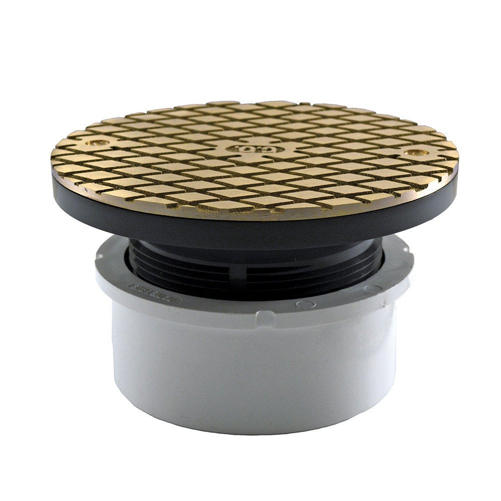 Jones Stephens, JS 4'' Hub Fit Base Cleanout with 3-1/2'' Plastic Spuds 6'' Nickel Bronze Round Cover PVC - C59003