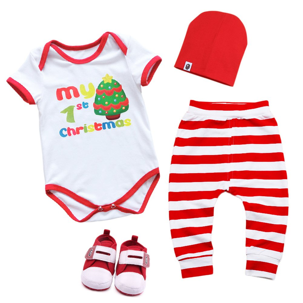 4PCS Newborn Infant Unisex Baby Boys Girls Christmas Santa Clothes Set My 1st Christmas Outfits Rompers Jumpsuit Kids Toddlers Striped Pants Hat Shoes Xmas Costume Outfits 0-18 Months