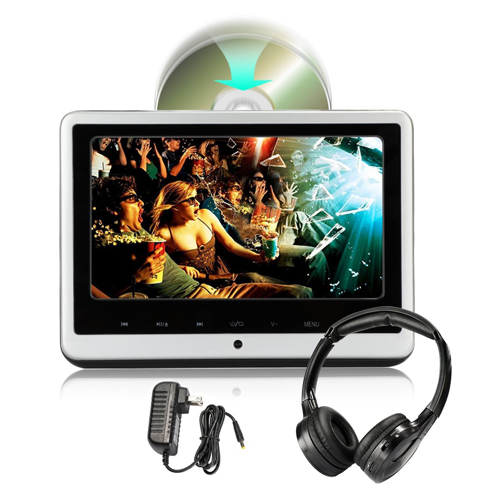 Kids Portable DVD Player with Headphone AC Adapter for Car and Home, 10.1 inch 1080P HD Car Headrest DVD Player with HDMI USB SD Remote Leather Back(CL806HD-HA)