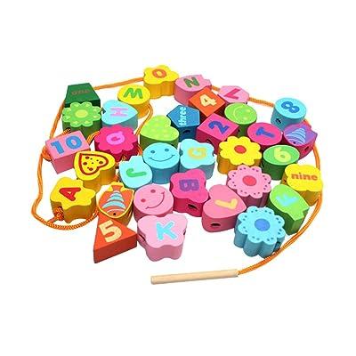 1 Jeu Jouets Enfants Bébé Coloré Alphabet De Cordage Nombre Jeu De Perles En Bois
