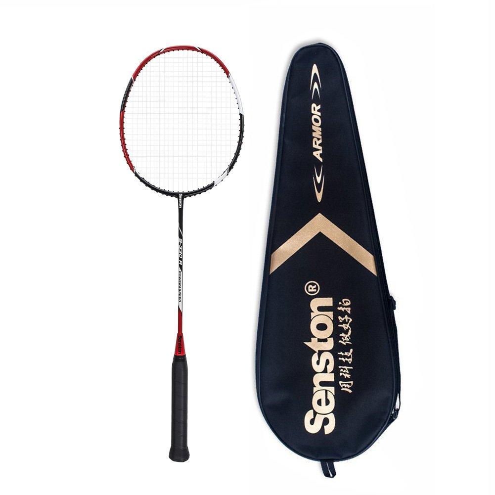 Senston S-330 Single Carbon Fiber Badminton Racquet High String Badminton Racket Red with Racket Cover by Senston (Image #1)
