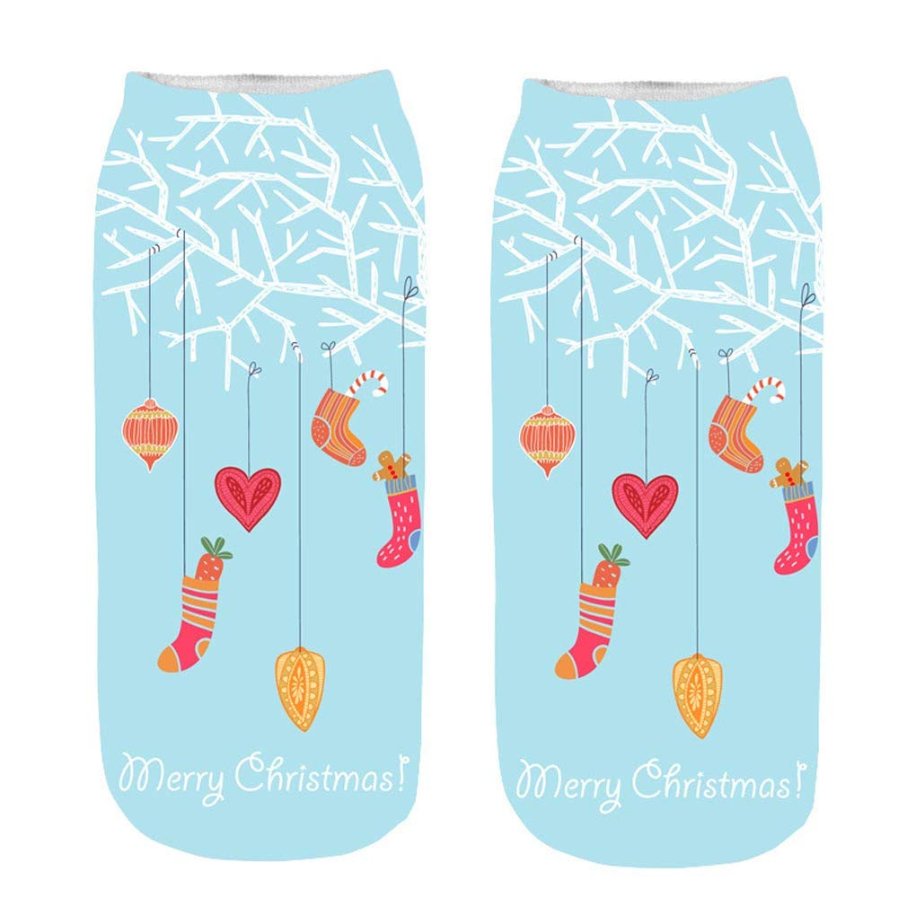 2019 Newest ChristmasSocks Women,Unisex Christmas Funny 3D Printed Socks Cute Low Cut Ankle Socks,