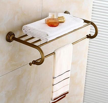 GL&G Europeos tallados porta toallas, todos los de baño de bronce Retro Toallas Estantería de