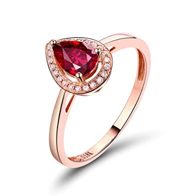fd46c049a06 Amazon.com  Lanmi Antique Women s Solid 14K Rose Gold Natural Pear Ruby  Gemstone Diamond Ring  Jewelry