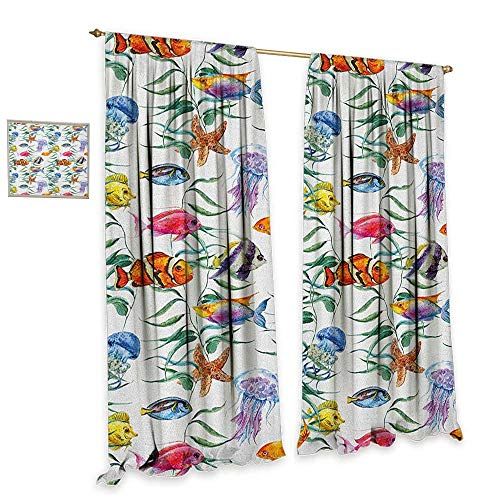 - Jellyfish Window Curtain Fabric Tropical Coral Reef with Seaweed Algae Jellyfish Aquatic Saltwater Nemo Theme Customized Curtains W120 x L84 Multicolor