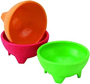IMUSA USA Plastic Salsa Dishes 3-Piece, Red, Orange, Green
