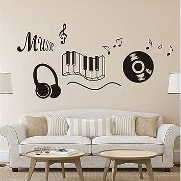 Syssyj Classic Record Auricular Piano Teclado Música Nota Arte De Pared Mural Stickers Living Room Moda Tatuaje De Pared Negro Vinilos Paredes: Amazon.es: ...