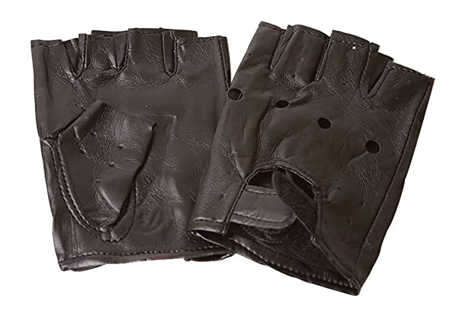 942b08123 Image Unavailable. Image not available for. Color: Fingerless Faux Leather  Motorcycle Gloves ...
