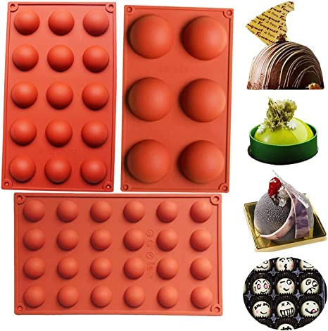 Round Shape(Brick red) Jelly Handmade Soap 3 6 Holes Silicone Molds for Chocolate Cake Pudding