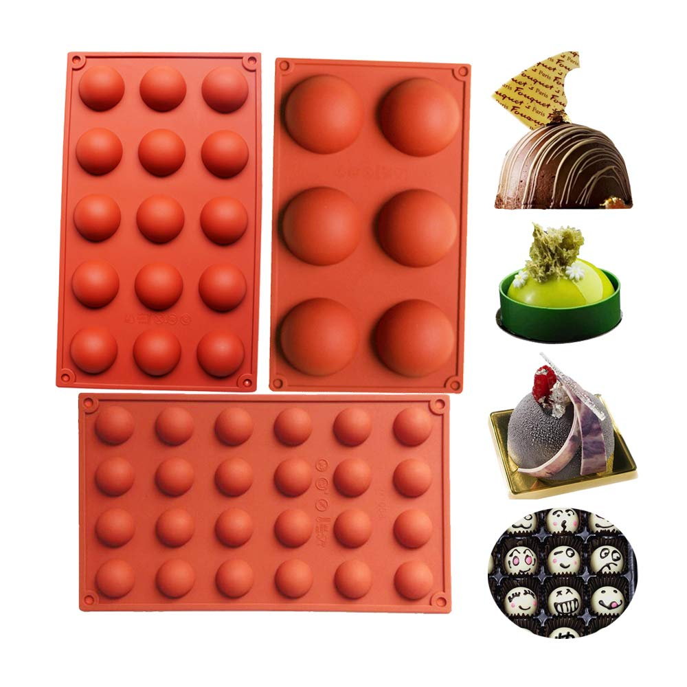 BAKER DEPOT Bakeware Set Silicone Mold for Cake Decoration Jelly Pudding Candy Chocolate 6 Holes Semicircle 15 Holes Semicircle 24 Holes Semicircle Each Design 1pc Brown Color Set of 3 by BAKER DEPOT