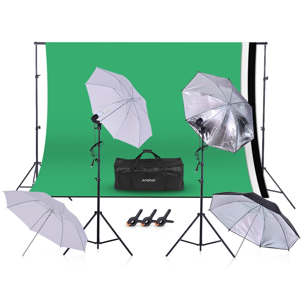 Photography Studio, Andoer Photography Video Studio Photo 45W 5500K Bulb Studio Lighting Kit Umbrella with 5.2 x 9.8ft Backdrop Support System for Figure Portrait Product Video Shooting Photography by Andoer