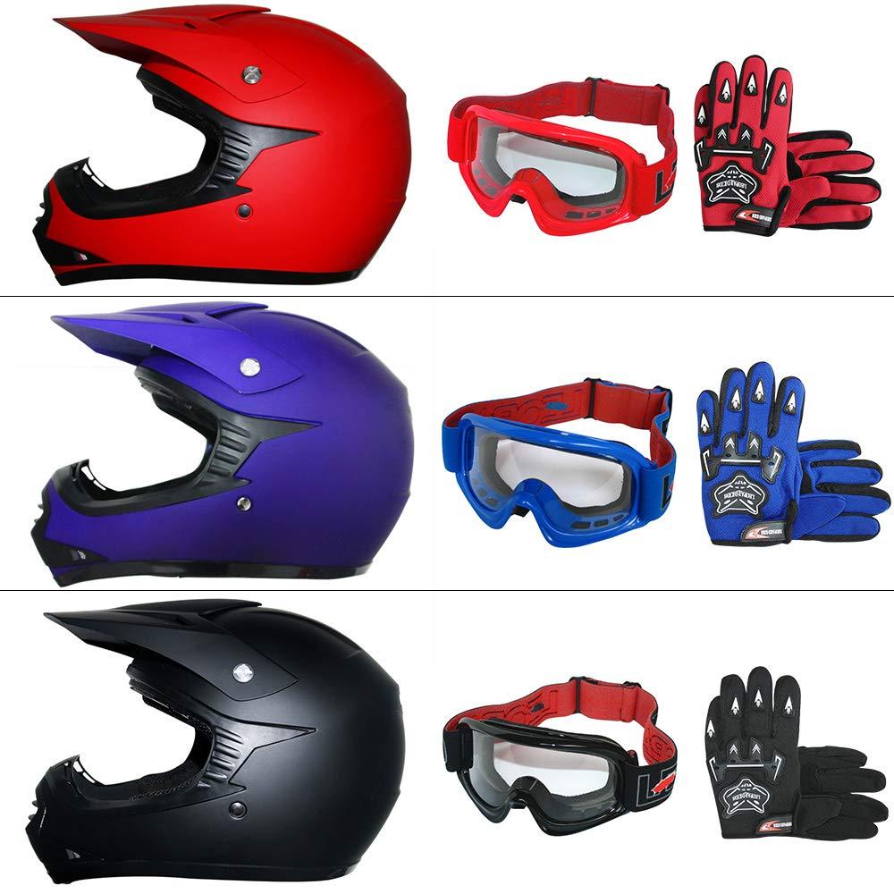 49-50cm Matt Bleu S Leopard LEO-X15 Casques Motocross /& Gants denfants /& Lunettes pour Enfants - Casque de Moto Bicyclette ATV ECE 22-05 Approbation