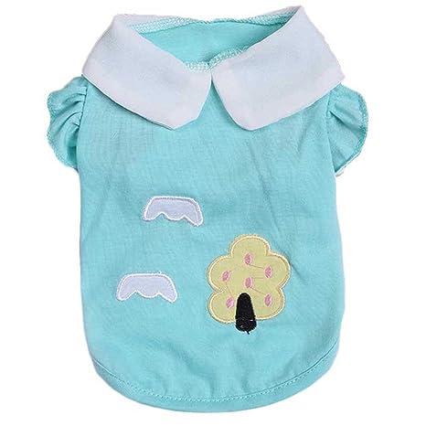 cuepa pequeño perro ropa con árbol y nube patrón, camiseta de ...