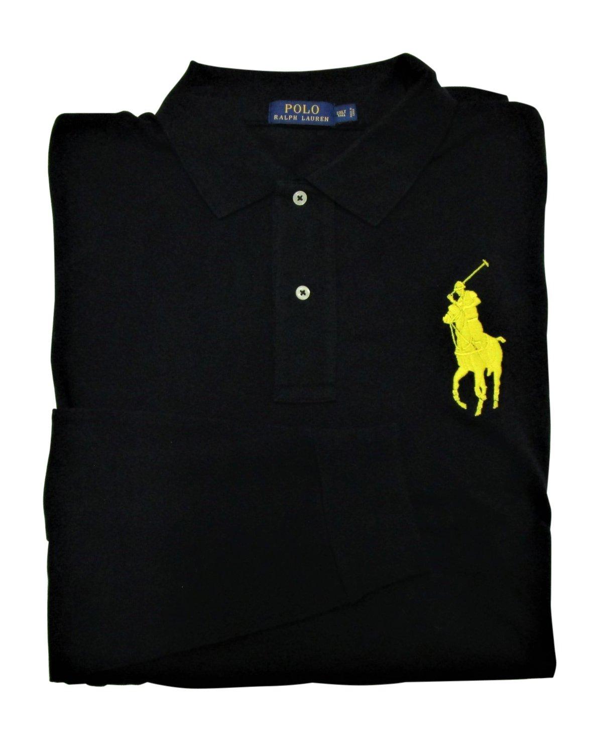 Polo Ralph Lauren Men's Big and Tall Big Pony Cotton Polo Shirt Long Sleeve Pique Mesh (2XLT, Polo Black)