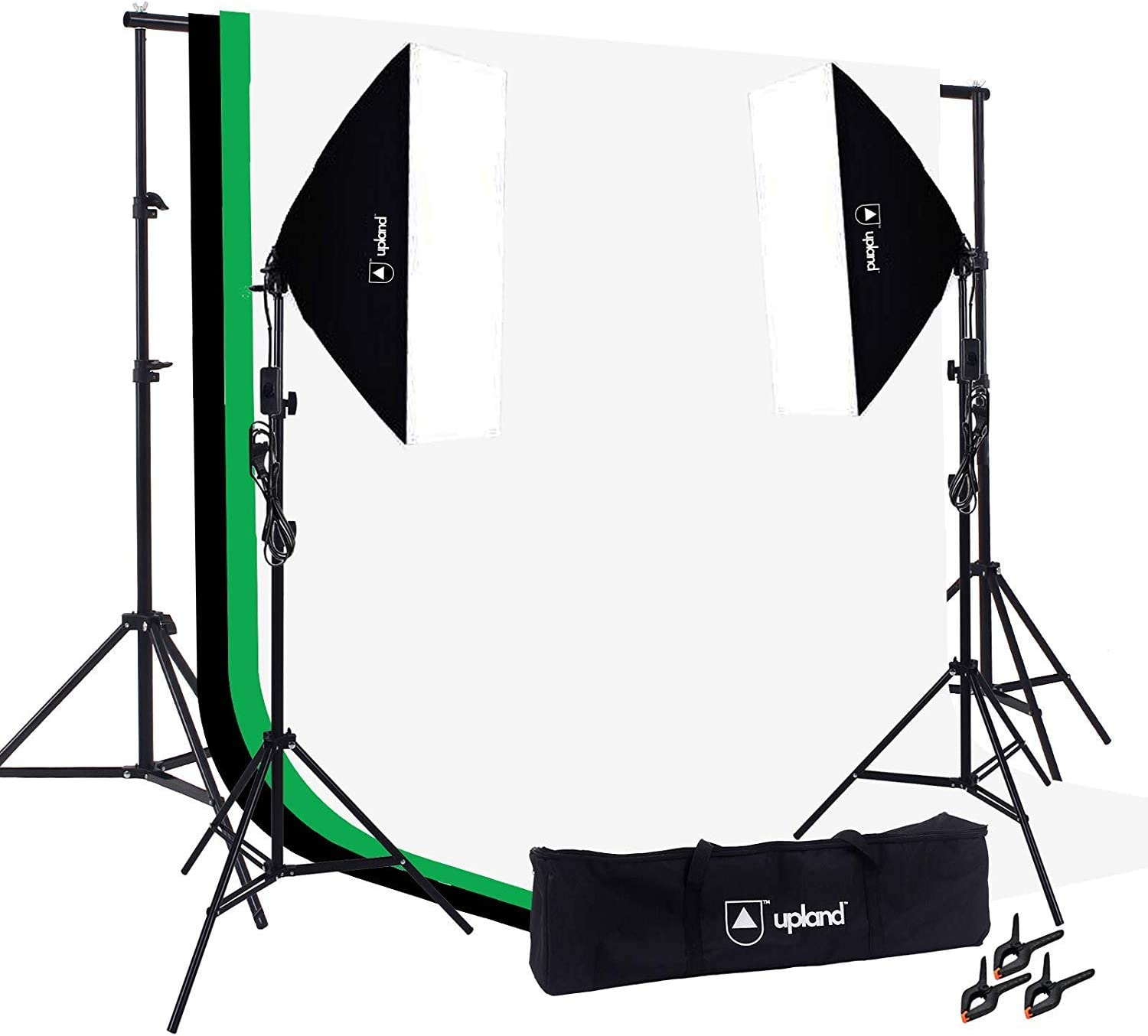 + 3 Backdrops Upland Softbox Lighting Kit for Photo 2 Softbox 20x28 Photography and Video Studio 6x9.2FT 6.6x10FT + Backdrop Support Stand