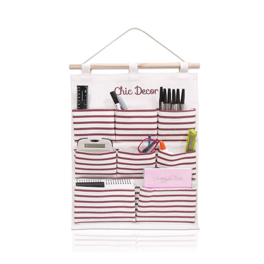 Chic Decor Hanging Organizer with Pockets (Striped Red, 1 pack)