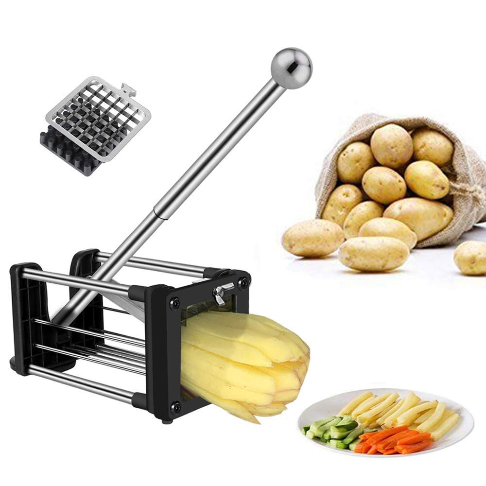 French Fry Cutter, Professional Potato Chipper with Extended Handle, Vegetable Slicer Chopper with 2 Replacement Blades and Non-Slip Feet by redhoney