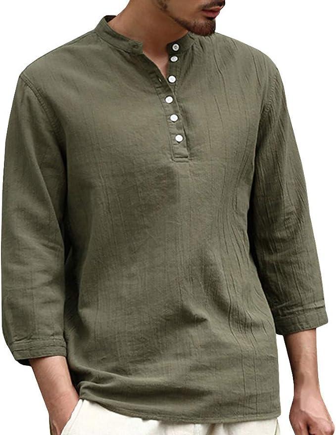 Camisa Hombre Verano Algodón y Lino Manga Corta Color sólido ...