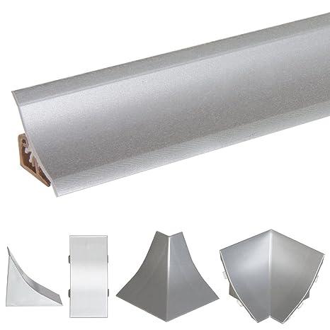HOLZBRINK Angolo Interno per Alzatina Piano Cucina Alluminio Argento  Listella di Finitura in PVC 23x23 mm