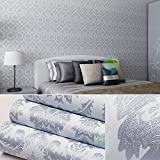 SimpleLife4U Silver Gray Damask Self-Adhesive Shelf Drawer Liner Moisture Proof PVC Mat 45x300cm