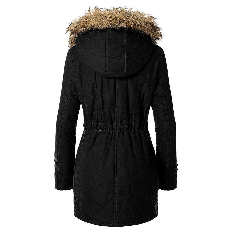Blivener Women Warm Winter Cotton Fleece Lined Parka Faux Fur Hooded Jacket Coat