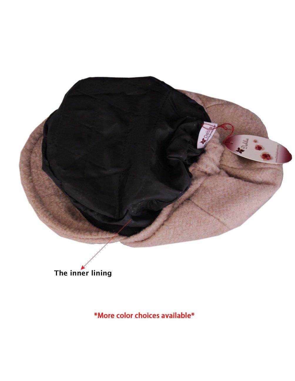 Dahlia Women's Chic Flower Newsboy Cap Hat Wool Blend - Dual Layer, Black by Dahlia (Image #5)